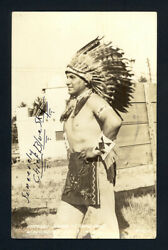 1920 Sioux Chief Blue Sky Autographed Pc Early 20th Century Native American Icon