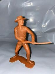Vintage Louis Marx And Co Cowboy 6 Brown Figure With Gun And Hat, Wild West