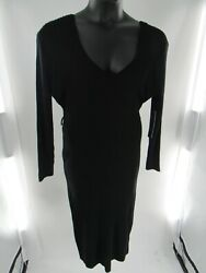 Plus Size Womenand039s Almost Famous Long Sleeve Solid Black Midi Sweater Size 3x Nwt
