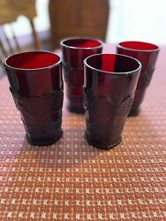 Four Avon 1876 Ruby Red Cape Cod Tumbler Water Glass 5.5 Set Of 4 New In Box