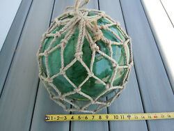 Antique 12 Hand Blown Green Glass Japanese Fishing Float With Net