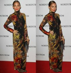Gorgeous New Curve Kissing Jean Paul Gaultier Mesh Maxi Dress In Floral Print