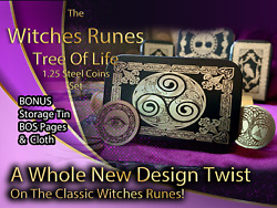 Metal Witches Runes Stones Set Coins Storage Tin Bos Book Pages Tree Of Life 2