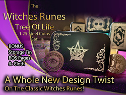 Metal Witches Runes Stones Set Coins Storage Tin Bos Book Pages Tree Of Life 1