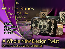 Metal Witches Runes Stones Set Coins Storage Tin Bos Book Pages Tree Of Life 3