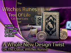 Metal Witches Runes Stones Set Coins Storage Tin Bos Book Pages Tree Of Life 4