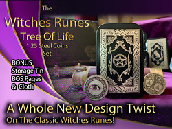 Metal Witches Runes Stones Set Coins Storage Tin Bos Book Pages Tree Of Life 5