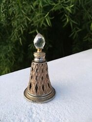 Vintage Perfume Glass Bottle Empty Jali Cut Metal Cover Collectible