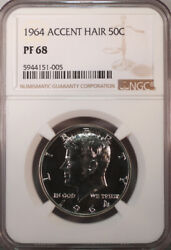 1964 Proof Kennedy Half Dollar Accented Hair Ngc Pf68 Beauty