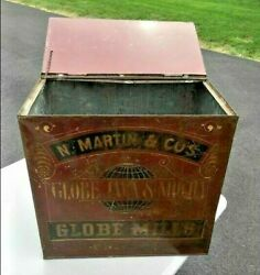 Rare Globe Java And Mills Antique General Store Coffee Tin Fantastic Advertising