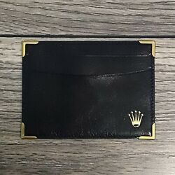 New Rolex Black Leather Id Business Card Credit Card Holder Wallet