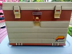 Vintage Plano 757 Tackle Box Beige And Brown W/top Storage And 4 Drawer Fishing Box