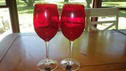 Red Water Goblets Circleware New With Tags Excellent Condition 4 16 Oz Goblets