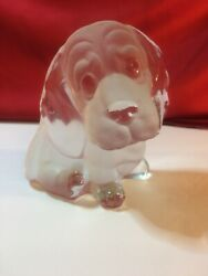 Viking Glass Beagle Cute Puppy Dog Frosted Paperweight Bookend Figurine