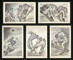 Ernie Barnes Complete Autographed Set Of 5 Football Lithographs Personalized