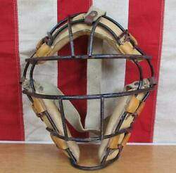 Vintage 1950s Wilson Baseball Catchers Face Mask A3080 Leather Pads Metal Cage