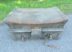 Antique Leather Travel Stagecoach Soft Top Trunk Chest Embossed Studded 1800's