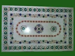 30 X 48 Inches Marble Dinette Table Top With Gemstones Inlay Work Coffee Table