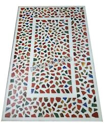 24 X 48 Inch Marble Coffee Table Top Multi Stones Hallway Table With Random Work
