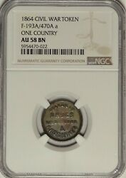 193a/470a R.8 1864 One Country Patriotic Civil War Token Ngc Au58