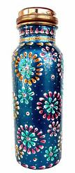 Pure Copper Hand Painted Bottle For Water Storage Capacity 500 Ml Color Art Work