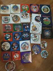Vintage Disney Lot Of 26 Ornaments Disc Christmas Mickey Mouse Pooh Donald Duck