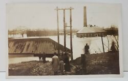 Oh Warren Disaster 1913 Flood Showing Electric Light Plant Rppc Postcard Aa1