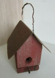 Charming Vintage Small Reclaimed Red Barn Wood Bird House Tin Roof Square Nail