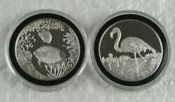 Lot Of 2 Different 1999 Turks And Caicos Proof 1 Ounce .999 Silver Coins