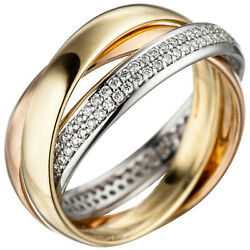 Womenand039s Ring 585 Gold Tricolor Three-color 122 Diamonds Gold Ring