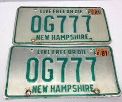 1980s 80s New Hampshire Nh Og Original Gangster Repeating 777 License Plate Pair