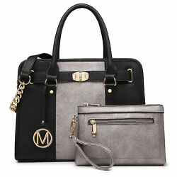 Women#x27;s Faux Leather Handbag and Purse Satchel for Work with Chain Strap Wallet $45.99
