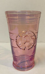 Starbucks 2019 China Pink Glass Cup Summer 16oz Rare Mei Red Collection No Lid