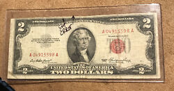 Vintage 1953 Error Cut Two Dollar 2 Bill United States Note Red Seal A04915598a