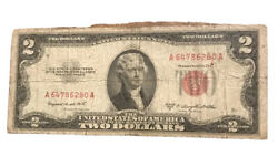 Vintage Ink Spill Error 1953b Two Dollar 2 Bill United States Note Red Seal