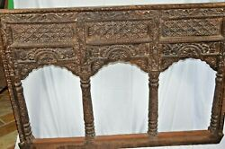 Large Antique 19th Century Indian Carved Wood Window/balcony Panel,c1850
