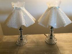 Pair Of Vintage Crystal Clear Glass Boudoir Vanity Table Lamps With Ruffle Shade