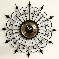 Beautiful Mid-century Modern Welby Starburst Battery Operated Wall Clock Working