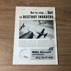 Sta60 Advert 11x8 Bell Aircraft Corporation The Airacobra And039cannon On Wingsand039