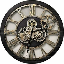 24'' Inch Real Moving Gear Wall Clock Vintage Industrial Oversized Rustic Farm
