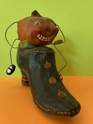 Orig. 1996 Paper Mache Pumpkin Candy Container Witch Shoe Trout Creek Halloween
