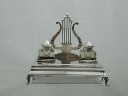 Antique Imperial Russian 84 Silver Ink Stand Inkwell Desk Set Musical Motif Lyre