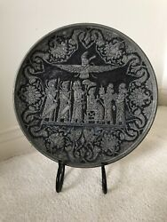 """Persian Middle East Hand Chased Silver Over Copper 11.5"""" Tray Plate Wall Plate"""