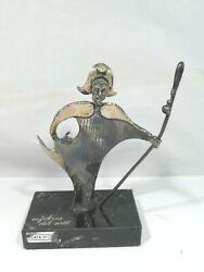 Tane Orfebres Sterling Silver Religous Figure With Crosier On Marble Base