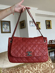 Authentic Calfskin Leather Red Large Flap Shoulder Bag Silver Chain