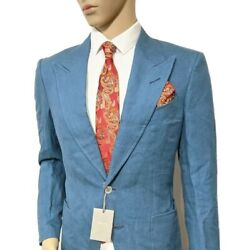 Bnwt Tom Ford Shelton Hand Made Slim Linen Suit Steel Blue 38r W32 L33 Rrp Andpound3860