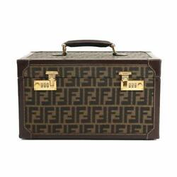 Fendi Zucca Vanity Hand Bag Canvas Leather Brown Cosmetic Box Purse 90129801