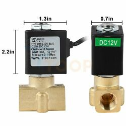 1/4 Electric Brass Solenoid Valve 12v Dc For Water Air Gas Fuel N/c