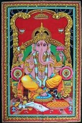 Godess Huge Cotton Lord Ganesh 43 X 30 Tapestry Poster Size Wall Hanging Decor