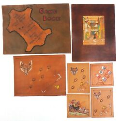 Paintings Of Wolf Hunting Stagecoach On Scrap Leather Lot 7 Pieces England